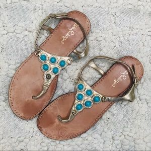 Lilly Pulitzer leather blue beaded sandal size 8